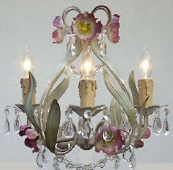 ITALY TOLE Crystal prisms Flower Garden style 4 light Chandelier cream plug opt $139.11