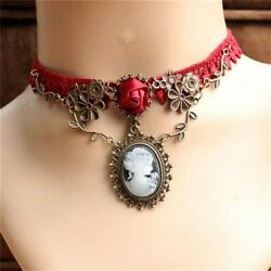 Gothic Red Lace Necklace Collar Choker Halloween Retro Vintage Chain Vampire