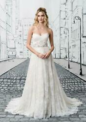NEW $1675 ivory JUSTIN ALEXANDER 8766 allover chantilly lace wedding dress L 14