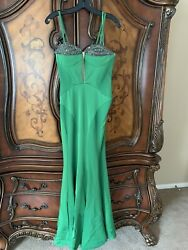 Prom Fancy Maxi Green Gown Size 4 $149.99