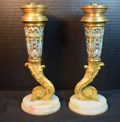 Antique Pair of Gilt Dove Bronze Champleve Candlestick Lamp Bases $595.00