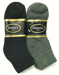 6 or12 Pair Non-Binding Top DIABETIC Black & Green Ankle Sock Size 10-13, USA . $19.97