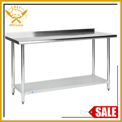 Commercial 24x60in Stainless Steel Galvanized Work Prep Table w 2in Rear Upturn