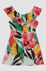 $90 Billabong Girls#x27; White Pink Under the Palms Woven Floral Ruffle Dress Size S $17.96