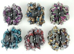 6 pcs Hair Clip Jaws Comb with Flowers Girl Women Hair Claw Clip Assorted  3