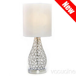 Modern Crystal Bedside Table Lamp Desk Lamp with White Fabric
