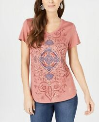 Style & Co Women's Graphic Fantasy-Print T-Shirt Pullover Short Sleeve V-Neck  $12.99