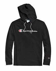 Champion Men#x27;s Hoodie Middleweight Script Logo Cotton Jersey Athletic Fit Kanga $26.91
