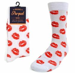 Men#x27;s Red Lips Novelty Socks $5.99