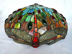 Beautiful Large Tiffany Reproduction Stained Glass Lamp Shade Jeweled DragonFly $399.99