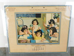 Dionne Quintuplets School Days Royale Milk Diary Advertising 1940s Desk Calendar