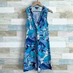 Tommy Bahama Floral Crossover Dress Blue White Cotton Vacation Beach Womens XS