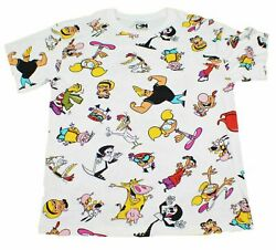 MENS CARTOON NETWORK RETRO ALL OVER 90'S LINEUP GRAPHIC PRINT THROWBACK T-SHIRT $14.99