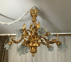 Fabulous French cast bronze Belle Epoque style chandelier