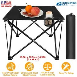 Foldable Camping Portable Picnic Table Travel Desk With Cup Holder Carrying Bag $18.38