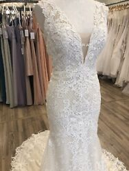 Maggie Sottero Wedding Dress Hailey Antique Ivory Size 10 Lace V-neck