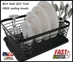 ESYLIFE Kitchen Dish Drainer Drying Rack with Drip Tray and Full-Mesh Silverware $22.99