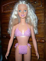 Pink Sparkle Hand Crochet Bikini For The My Size Barbie Doll $7.00