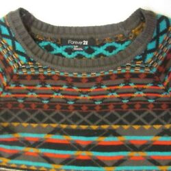 Forever 21 Women#x27;s Petite Small Shades of Brown w Orange Stripe Sweater Shirt $11.97