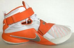 NIKE Orange White LEBRON ZOOM SOLDIER IX 9 $145 BASKETBALL SHOES 2 Straps Sz 18