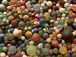100 Vintage Glass Beach Sea Frosted Marbles Old Toys Gift Collector Display $22.99