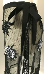 TOM K NGUYEN AMAZING BLACK NET LACE WRAP SKIRT COVER-UP SHEER W SEQUIN FLOWERS S $119.99