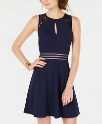 City Studios Juniors' Lace-Trim Fit & Flare Dress Navy Sleeveless Size 1 $18.99