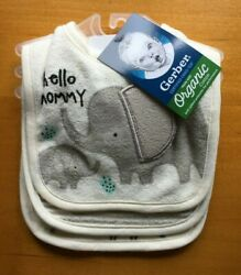 Gerber Baby Neutral 3 Pack Bibs Organic Cotton Animals FREE SHIPPING $9.99
