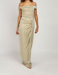 Beautiful Tall metallic Plisse Ruched Maxi Dress Length = 62quot; GBP 27.00