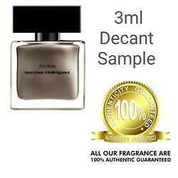 Mens FOR HIM by Narciso Rodriguez EDP 3ml Glass Decant Sample Travel Size $8.49
