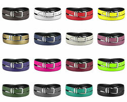 CONCITOR Reversible Belt Solid Colors Black Bonded Leather Silver-Tone Buckle XL $13.95