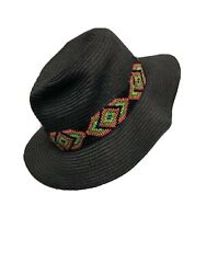 Beach Comber Straw Sun Hat Black Neon Beading Band Appliqué Olive Pique $34.97