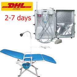 Portable Dental Turbine Unit Air Compressor system 4 hole mobile folding Chair