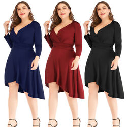 Women Sexy V Neck Bodycon Waist Hi low Dress Party Evening Cocktail Plus Size $16.49