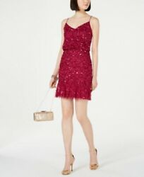 $189 New Adrianna Papell Sequin Blouson Party Women#x27;s Dress Size 2 Red Plum NWT $59.00