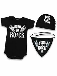 Six Bunnies Born to Rock Baby Clothes Tattoo Black Outfit 3 6 mos Boy Girl Boxed $29.95