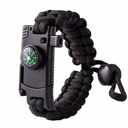 Paracord Knife Bracelet Adjustable with Fire Starter Compass Whistle Black Band $7.99