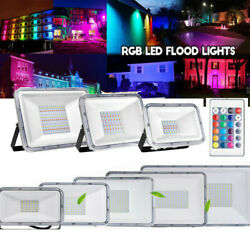 10 100W RGB LED Floodlight Commercial Outdoor Garden Landscape Security Lighting