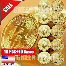 10 Pcs Gold Bitcoin Commemorative 2020 New Collectors Gold Plated Bit Coin $9.82