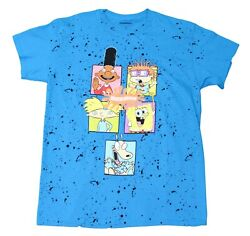 Mens Nickelodeon Spongebob Rugrats Throwback 90s Cartoon Blue T Shirt Tee New $14.99