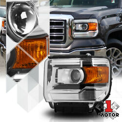 Left Driver Side Chrome Projector Headlight Assembly for 14-19 GMC Sierra 1500