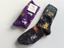 2 PAIRS WOMENS NOVELTY CREW SOCKS * CATS amp; DOGS * SZ 9 11* NWL * GRAY PURPLE $11.99
