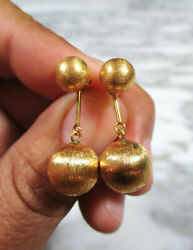 PAIR MID CENTURY SOLID 18K YELLOW BRUSHED GOLD CONVERTIBLE BALL DANGLE EARRINGS $695.00