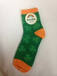 St. Patricks Day Lucky Four Leaf Clover Novelty Socks Women's 9 11 $6.99