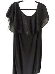 Black Cocktail Dress Size 16W Sequin Collar $25.00