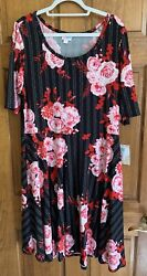 LuLaRoe Nicole Fit and Flare Dress Black W Pink Floral Plus Size 3XL NWT $35.00
