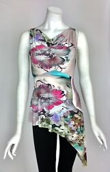 Elana Kattan Empire Sleeveless Slanted Hem Cowl Neck Print Tunic Top NWT Sz S $16.99