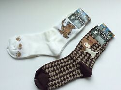 2 PAIRS WOMENS NOVELTY SOCKS CAT amp; DOG *FUN amp; CUTE * BROWN WHITE * NWT $11.99