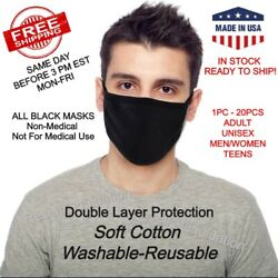 Washable Reusable Face Mask Black Cotton Cloth Double Layer Adult Mask Lot Packs $22.99