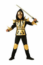 Gold Black Ninja CHILD Boys Costume NEW $21.55